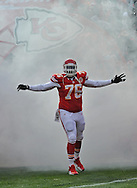 KANSAS CITY, MO - NOVEMBER 24:  Offensive tackle Branden Albert #17 of the Kansas City Chiefs gets introduced before a game against the San Diego Chargers on November 24, 2013 at Arrowhead Stadium in Kansas City, Missouri. (Photo by Peter G. Aiken/Getty Images) *** Local Caption *** Branden Albert