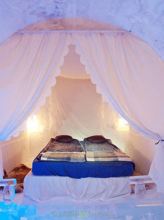 A bedroom at an ice hotel at Alta, Finnmark region, northern Norway