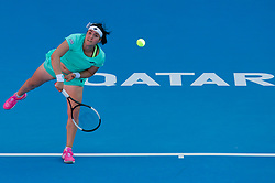 DOHA, Feb. 13, 2019  Ons Jabeur of Tunisia serves during the women's singles first round match between Carla Suarez Navarro of Spain and Ons Jabeur of Tunisia at the 2019 WTA Qatar Open in Doha, Qatar, Feb. 12, 2019. Jabeur lost 0-2. (Credit Image: © Yangyuanyong/Xinhua via ZUMA Wire)