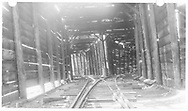 Interior of RGS Lizard Head wye snowshed showing the north turnout, tail to the left, mainline to the right.<br /> RGS  Lizard Head, CO  Taken by Maxwell, John W. - ca. ? 1950<br /> Same image as RD137-010 and RDS076-081.<br /> Thanks to Don Bergman for additional information.