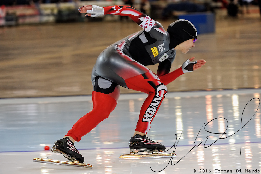Shannon Rempel (CAN) competes in the ladies 500m event at the 2009 Essent ISU World Single Distances Speed Skating Championships. Rempel finished in the 20th position in the overall standings. The overall winner in the 500m distance was Jenny Wolf (GER).