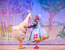Mother Goose <br /> at the Hackney Empire, London, Great Britain <br /> press photocall<br /> 20th November 2014 <br /> <br /> Clive Rowe as Mother Goose <br /> <br /> <br /> Alix Ross as Priscilla (the Goose)  <br />  <br /> <br /> <br /> Photograph by Elliott Franks <br /> Image licensed to Elliott Franks Photography Services