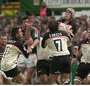 © Peter Spurrier / Sportsbeat images<br />email images@sportsbeat.co.uk - Tel +44 208 876 8611<br />Photo Peter Spurrier 02/05/2003<br />2003 - Zurich Premiership Rugby - Leicester Tigers v London Irish<br />Bob Casey and Keiron Dawson combine to win the high ball