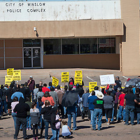 A crowd of about 200 people came together to protest the Winslow police and support Loreal Tsingine at the Justice for Loreal vigil Saturday, organized by the Red Nation. Members of Loreal's family, friends and Navajo Nation leaders including President Russell Begay all spoke at the vigil on behalf of Loreal.