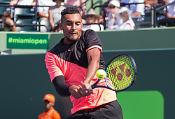 March 26, 2018 - Miami, Florida, United States - Nick Kyrgios, from Australia, in action against Fabio Fognini, from Italy, during his third round match at the Miami Open in Key Biscayne. Kyrgios defeated Fognini 6-3, 6-3 in Key Biscayne, on March 26, 2018. (Credit Image: © Manuel Mazzanti/NurPhoto via ZUMA Press)