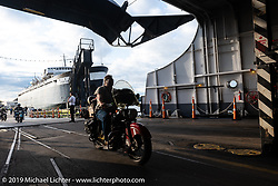 Tim McIntyre riding his 1948 Indian Chief onto the SS Badger Lake Michigan ferry during the Cross Country Chase motorcycle endurance run from Sault Sainte Marie, MI to Key West, FL (for vintage bikes from 1930-1948). Stage 2 from Ludington, MI to Milwaukee, WI, USA. Saturday, September 7, 2019. Photography ©2019 Michael Lichter.
