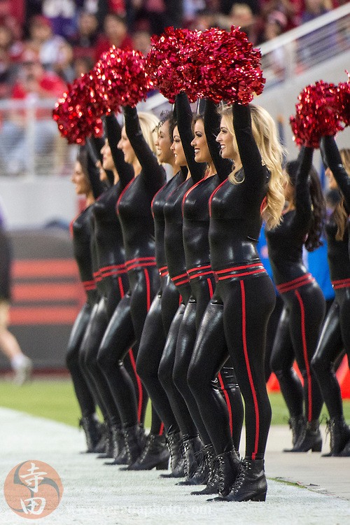September 14, 2015; Santa Clara, CA, USA; San Francisco 49ers Gold Rush cheerleaders (front-back) Melissa, Alexa, Aleena, Lynnette, and Brooklyn perform before the game against the Minnesota Vikings at Levi's Stadium. The 49ers defeated the Vikings 20-3.