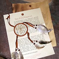 North America, USA, New Mexico, Santa Fe. Inn of Five Graces Dreamcatcher and Story