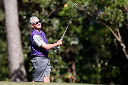 Steve Fuller tees off during the Chick-fil-A Peach Bowl Challenge at the Oconee Golf Course at Reynolds Plantation, Sunday, May 1, 2018, in Greensboro, Georgia. (Paul Abell via Abell Images for Chick-fil-A Peach Bowl Challenge)
