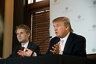 Donald Trump and Eric Trump at the opening of Trump National Golf Club Washington DC