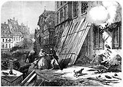 Franco-Prussian War 1870-1871:  A street in Strasbourg during the siege and bombardment, 1870. From 'The Illustrated London News'. (London, 15 October 1870). Wood engraving.