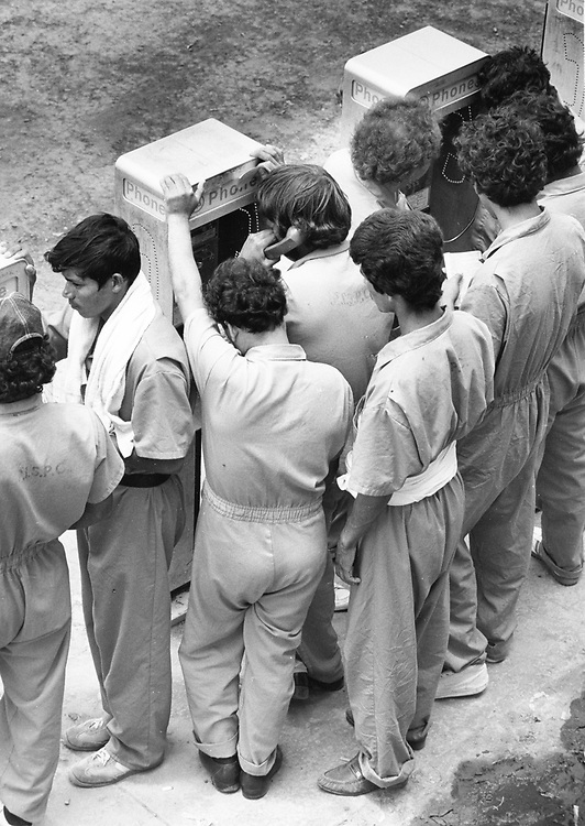 ©1989 Undocumented immigrants at the South Texas Detention Facility in Port Isabel, Texas