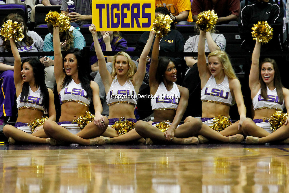January 17, 2012; Baton Rouge, LA; LSU Tigers girls dancers perform during the second half of a game against the Auburn Tigers at the Pete Maravich Assembly Center. LSU defeated Auburn 65-58 in overtime. Mandatory Credit: Derick E. Hingle-US PRESSWIRE
