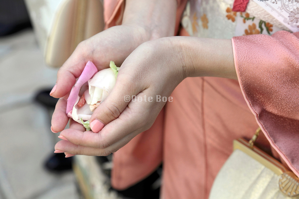 young adult female person in kimono holding flower petals for throwing at a wedding