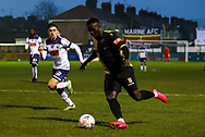 Marine forward Mo Touray (10) crosses the ball during the The FA Cup match between Marine and Havant & Waterlooville FC at Marine Travel Arena, Great Crosby, United Kingdom on 29 November 2020.