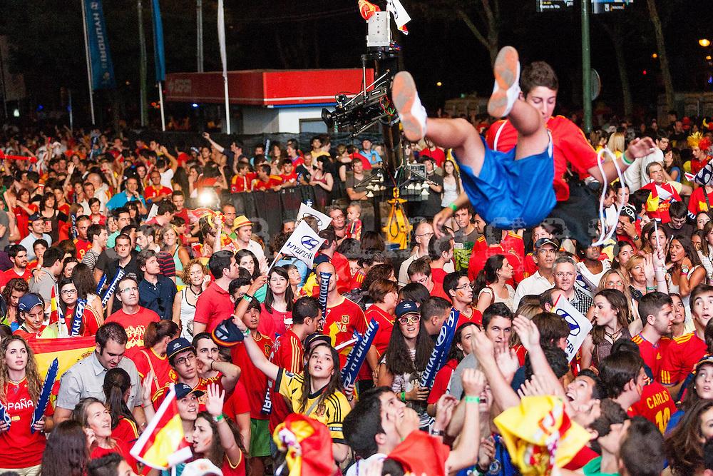 flight of a fan in Spain's second goal