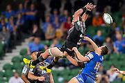Kieran Read © of the BNZ Crusaders flies high for a mark during the Canterbury Crusaders v the Western Force Super Rugby Match. Nib Stadium, Perth, Western Australia, 8th April 2016. Copyright Image: Daniel Carson / www.photosport.nz