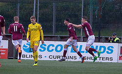 Stenhousemuir's Conor McBrearty (22) cele scoring their first goal. Half time : Stenhousemuir 2 v 2 Falkirk, 3rd Round of the William Hill Scottish Cup played 24/11/2018 at Ochilview Park, Larbert.
