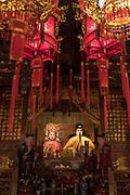 Four statues inside the ornate interior of City God Temple, Zhujiajiao, Shanghai, China