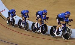 Italy's Francesco Lamon, Michele Scartezzini, Filippo Ganna and Elia Viviani in the Team Pursuit Men's Gold Final during day two of the 2018 European Championships at the Sir Chris Hoy Velodrome, Glasgow.