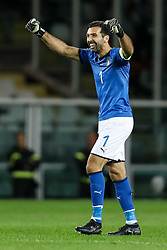 October 6, 2017 - Turin, Italy - Gianluigi Buffon of Italy national team celebrates a goal during the 2018 FIFA World Cup Russia qualifier Group G football match between Italy and FYR Macedonia at Stadio Olimpico on October 6, 2017 in Turin, Italy. (Credit Image: © Mike Kireev/NurPhoto via ZUMA Press)