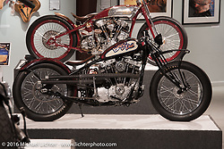 Board to Death, Chris Callen's board track style Ironhead Sportster in Michael Lichter's Skin & Bones tattoo inspired Motorcycles as Art show at the Buffalo Chip Gallery during the annual Sturgis Black Hills Motorcycle Rally. SD, USA. August 10, 2016. Photography ©2016 Michael Lichter.