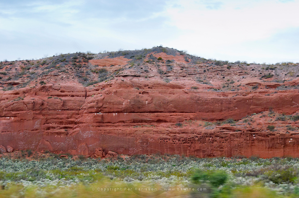 Red rock typical soil in the Anelo district Neuquen, Patagonia, Argentina, South America