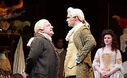 Mr Foote's Other Leg <br /> by Ian Kelly <br /> at Theatre Royal Haymarket, London, Great Britain <br /> press photocall<br /> 30th October 2015 <br /> <br /> <br /> Simon Russell Beale as Samuel Foote <br /> Joseph Millson as David Garrick <br /> Dervla Kirwan as Peg Woffington <br /> <br /> Photograph by Elliott Franks <br /> Image licensed to Elliott Franks Photography Services