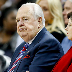 Oct 23, 2013; New Orleans, LA, USA; New Orleans Pelicans and New Orleans Saints owner Tom Benson sits courtside during the second half of a preseason game against the Miami Heat at New Orleans Arena. The Heat defeated the Pelicans 108-95. Mandatory Credit: Derick E. Hingle-USA TODAY Sports
