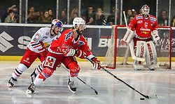04.04.2014, Eisarena, Salzburg, AUT, EBEL, EC Red Bull Salzburg vs HCB Suedtirol, Finale, best of five, 1. Spiel, im Bild Andreas Kristler, (EC Red Bull Salzburg, #40) und Sebastien Piche, (HCB Suedtirol, #55) // during the 1st match of the final best of five round of the the Erste Bank Icehockey League Playoff between EC Red Bull Salzburg and HCB Suedtirol at the Eisarena in Salzburg, Austria on 2014/04/04. EXPA Pictures © 2014, PhotoCredit: EXPA/ Roland Hackl