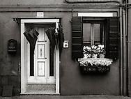 The facade of a house in Burano, Venice, Italy