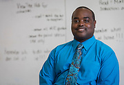 Cedric Starks poses for a photograph at South Early College High School, February 20, 2015.