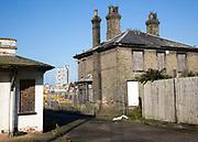 Derelict historic listed buildings Ipswich Wet Dock waterside redevelopment, Ipswich, Suffolk, England, UK Harbour Master's office