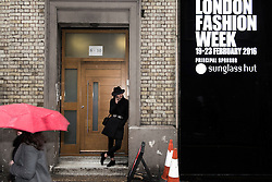 Excitement at Brewer Street Car Park entrance for the London  Fashion Week AW16