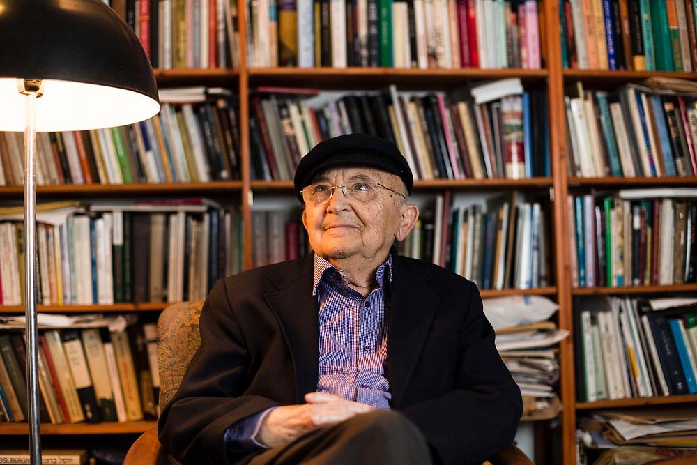 Israeli novelist Aharon Appelfeld, poses for a portrait at his house in Mevaseret Zion, west of Jerusalem, Israel, on April 17, 2014.