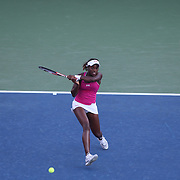 Sloane Stephens, USA, in action against Francesca Schiavone, Italy, during the US Open Tennis Tournament, Flushing, New York. USA. 28th August 2012. Photo Tim Clayton