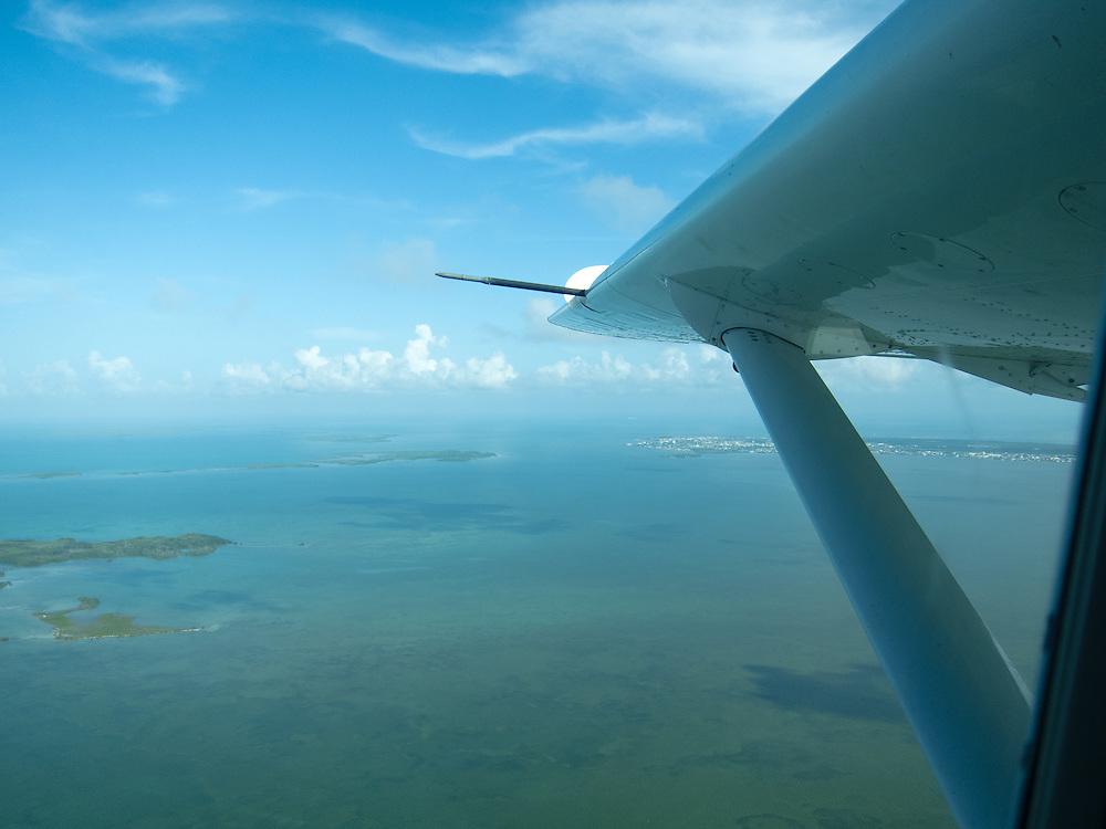 San Pedro, Belize 8/31/2012.Tropic Air above the Caribbean on the way to Ambergris Caye..Alex Jones / www.alexjonesphoto.com