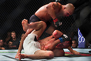 Robbie Lawler knocks out Rory MacDonald during UFC 189 at the MGM Grand Garden Arena in Las Vegas, Nevada on July 11, 2015. (Cooper Neill)