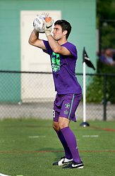 06 June 2015. New Orleans, Louisiana.<br /> National Premier Soccer League. NPSL. <br /> Andrew Tarbell makes his final appearance for the New Orleans Jesters as they take on Chattanooga FC in a Conference game at home in the Pan American Stadium. Chattanooga take a 4-0 victory over the Jesters.<br /> Photo; Charlie Varley/varleypix.com