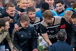05-05-2019 NED: Cup Final Ceremony Willem II - Ajax, Rotterdam<br /> Ajax has won its first prize since 2014 on Sunday evening. In the cup final, Ajax won 4-0 against Willem II / Lasse Schone #20 of Ajax, Frenkie de Jong #21 of Ajax, Matthijs de Ligt #4 of Ajax, Donny van de Beek #6 of Ajax, Dusan Tadic #10 of Ajax