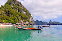 Ko Wua Talap, one of the islands in the Angthong National Marine Park (42 limestone islands) near Koh Samui (island), Gulf of Thailand, Thailand