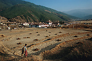 View of Trashi Chhoe Dzong in Bhutan's capital city of Thimphu. From coverage of revisit to Material World Project family in Bhutan, 2001. The Dzong?or fortress?is one of many in the country that historically provided sanctuary for the country's people during war and strife. Trashi Chhoe Dzong was rebuilt when the country capital was moved to Thimphu in the early 1960's. Architecture. From coverage of revisit to Material World Project family in Bhutan, 2001.
