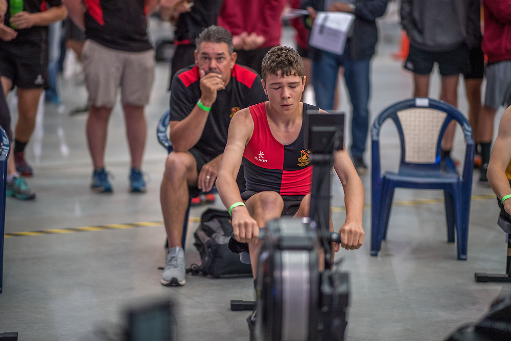 Adam Wilson MALE HEAVYWEIGHT U15 2K Race #4  09:15am<br /> <br /> <br /> www.rowingcelebration.com Competing on Concept 2 ergometers at the 2018 NZ Indoor Rowing Championships. Avanti Drome, Cambridge,  Saturday 24 November 2018 © Copyright photo Steve McArthur / @RowingCelebration