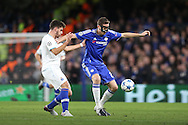 Nemanja Matic of Chelsea blocks the ball from Rubén Neves of FC Porto. UEFA Champions league group G match, Chelsea v Porto at Stamford Bridge in London on Wednesday 9th December 2015.<br /> pic by John Patrick Fletcher, Andrew Orchard sports photography.