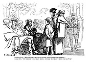 """Standing lady. """"My husband was made a colonel just before the armistice."""" Seated ditto. """"My husband would have been a general if it hadn't been for the war."""""""