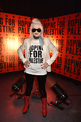 """Pam Hogg at """"Hoping For Palestine"""" Benefit Concert For Palestinian Refugee Children held at The Roundhouse, Chalk Farm Road, England. 04 June 2018. <br /> Photo by Dominic O'Neill/SilverHub 0203 174 1069/ 07711972644 - Editors@silverhubmedia.com"""