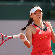 PARIS, FRANCE June 06. Leylah Annie Fernandez of Canada in action against Sohyun Park of Korea on Court Eight during the Girls' Singles third round match at the 2019 French Open Tennis Tournament at Roland Garros on June 6th 2019 in Paris, France. (Photo by Tim Clayton/Corbis via Getty Images)