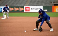 Oct 7, 2021; San Francisco, CA, USA; Los Angeles Dodgers infielder Matt Beaty (45) takes ground balls during NLDS workouts. Mandatory Credit: D. Ross Cameron-USA TODAY Sports