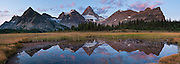 Mount Assiniboine Provincial Park, British Columbia, Canada. Mount Assiniboine rises to 3618 meters / 11,870 feet elevation. This is part of the Canadian Rocky Mountain Parks World Heritage Site declared by UNESCO in 1984. Panorama stitched from 5 images.
