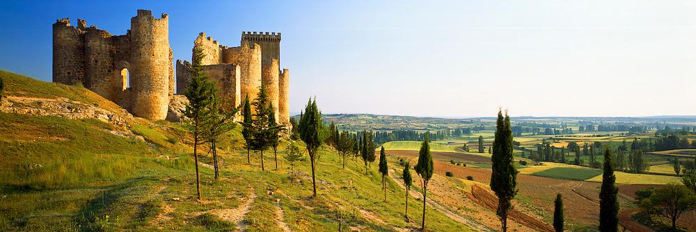 SPAIN, CASTILE and LEON medieval castle at Penaranda de Duero, with rich agricultural land along the Duero River below, south of Burgos